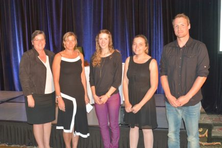Scholarship winners: L-R Elaine Elaine McKnight, Deputy Minister of BC MEM, Wendy Gardner of TRU and students, Katie McMahon , Marika and Paul Antonelli